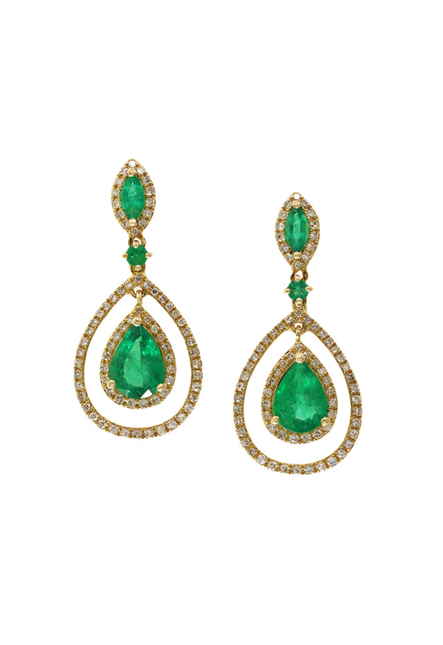 Effy Brasilica 14K Yellow Gold Emerald and Diamond Earrings, 2.88 TCW