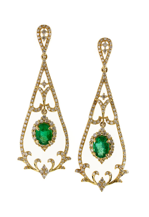 Effy Brasilica 14K Yellow Gold Emerald & Diamond Earrings, 1.78 TCW
