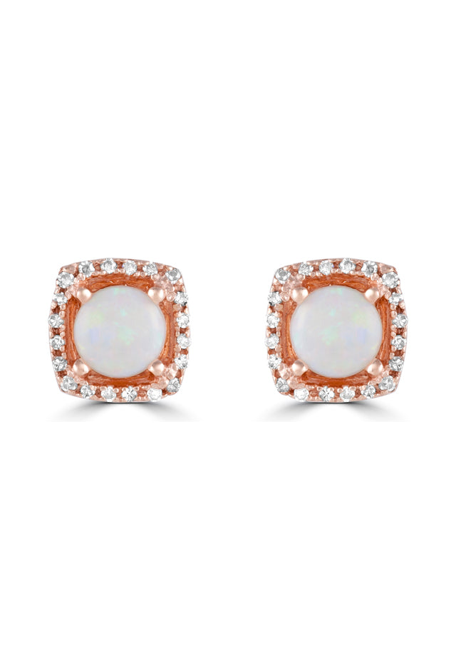Effy Aurora 14K Rose Gold Opal and Diamond Stud Earrings, 0.92 TCW