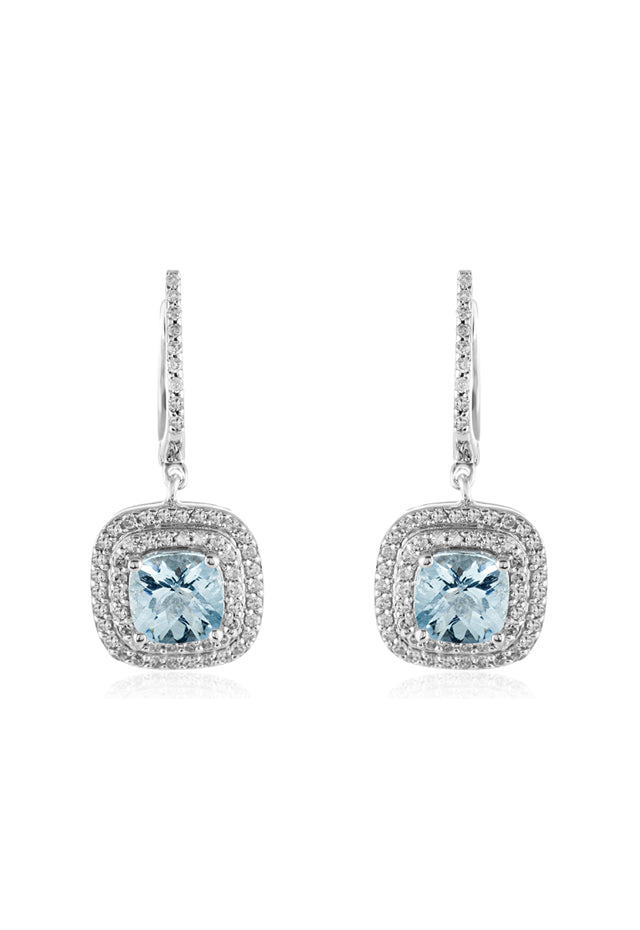 Effy Aquarius 14K White Gold Aquamarine and Diamond Earrings, 2.38 TCW