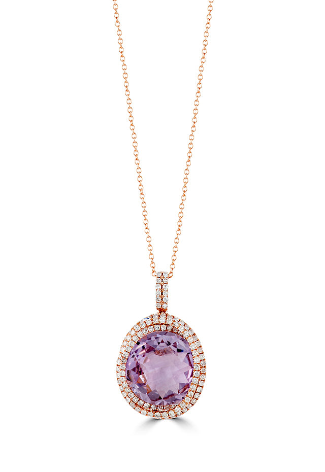 Effy Gemma 14K Rose Gold Amethyst and Diamond Pendant, 8.65 TCW