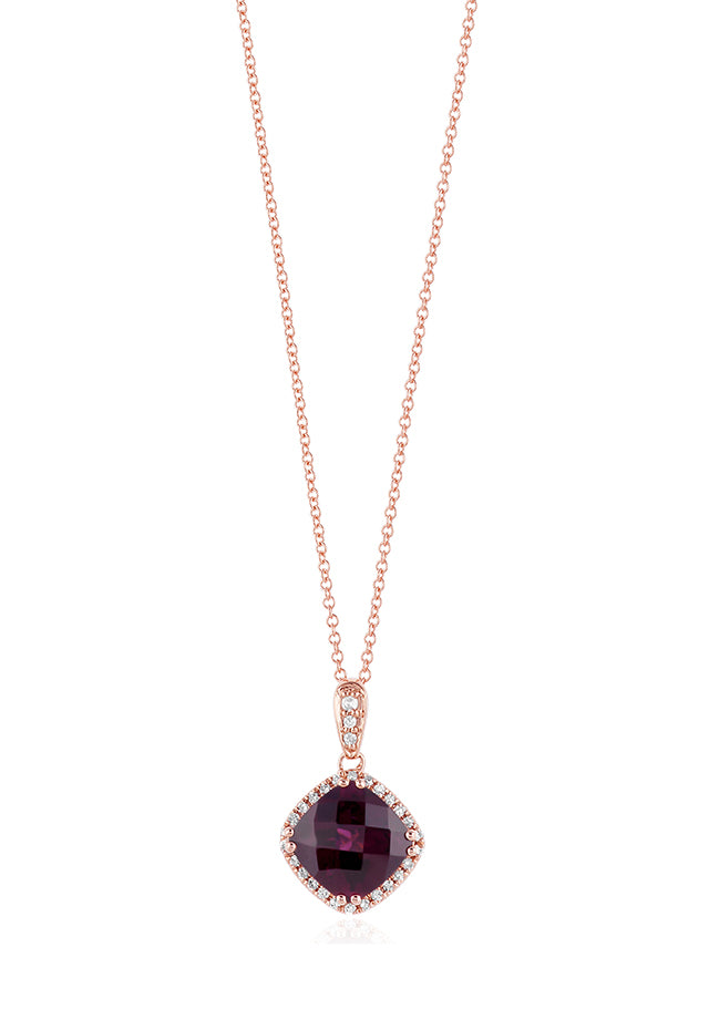Effy Bordeaux 14K Rose Gold Rhodolite Garnet and Diamond Pendant, 2.94 TCW