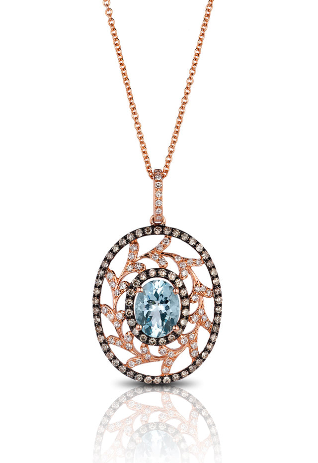 Effy Aquarius 14K Rose Gold Aquamarine and Diamond Pendant