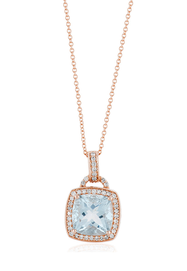 Effy Aquarius 14K Rose Gold Aquamarine and Diamond Pendant, 3.06 TCW