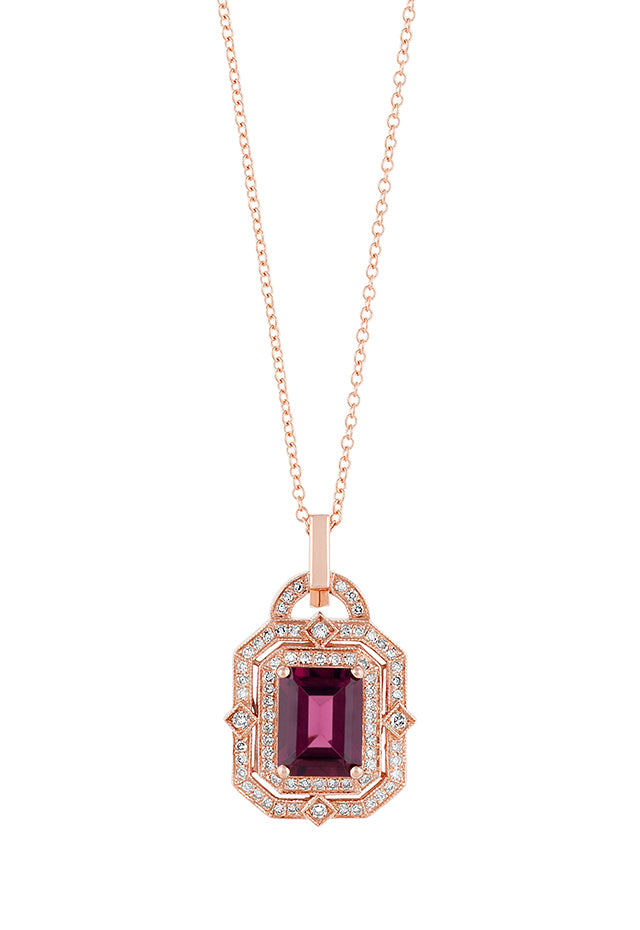 Effy Bordeaux 14K Rose Gold Rhodolite Garnet and Diamond Pendant, 2.80 TCW