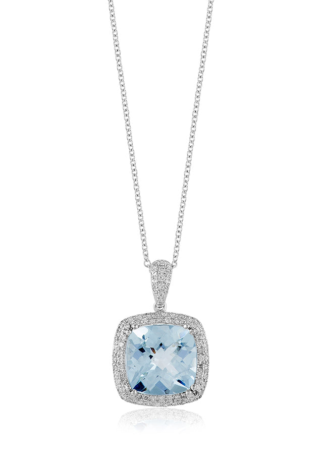 Effy Aquarius 14K White Gold Aquamarine and Diamond Pendant, 4.28 TCW