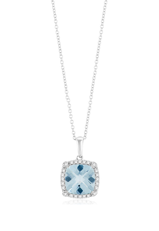 Effy Aquarius 14K White Gold Aquamarine and Diamond Pendant, 1.91 TCW