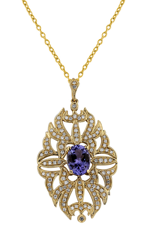 Gemma Tanzanite and Diamond Filigree Pendant, 1.73 TCW