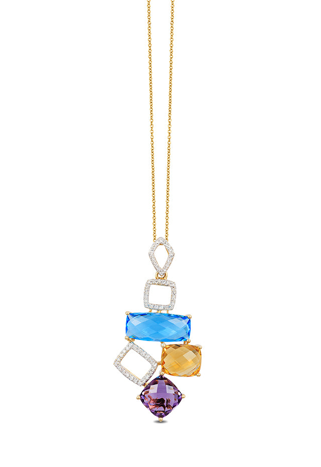 Effy Mosaic 14K Yellow Gold Blue Topaz, Amethyst, Citrine & Diamond Pendant