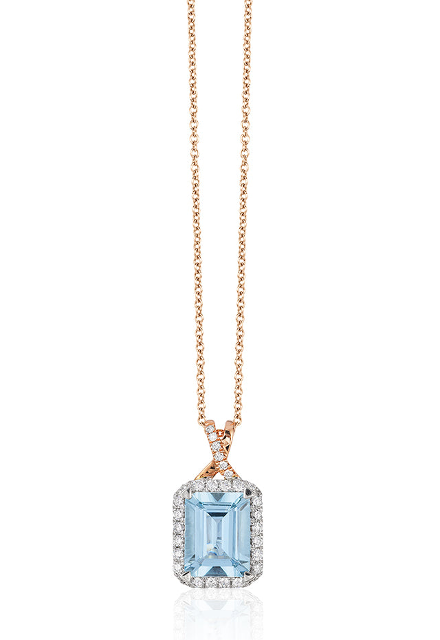 Effy Aquarius 14K White & Rose Gold Aquamarine & Diamond Pendant, 2.45 TCW