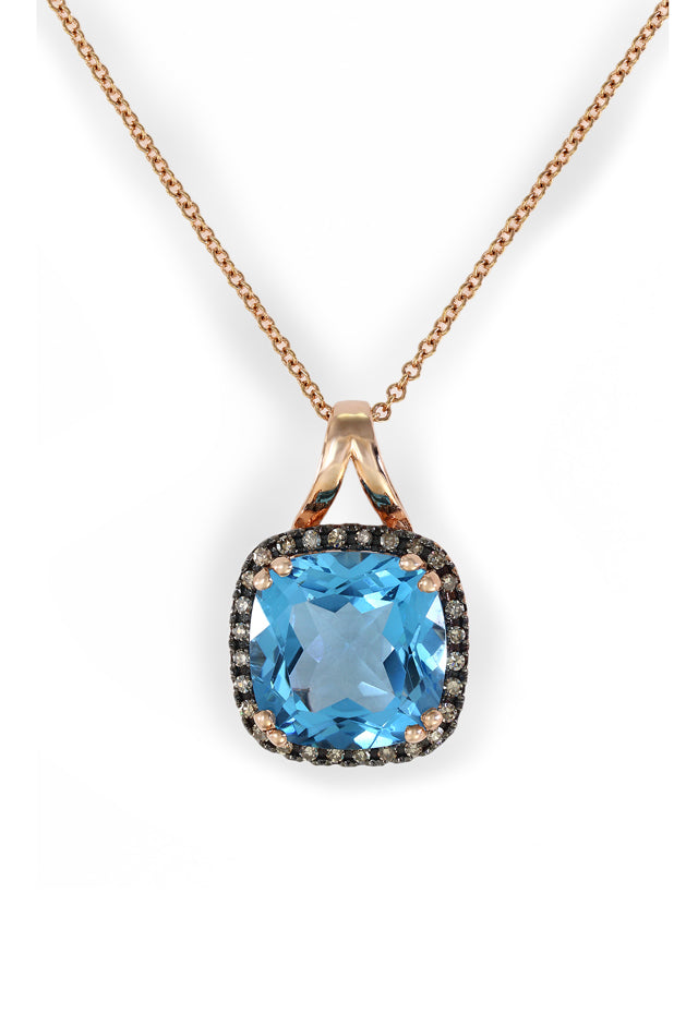 Gemma 14K Rose Gold Blue Topaz and Diamond Pendant, 4.66 TCW