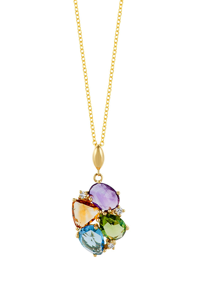 Effy Mosaic 14K Yellow Gold Multi Gemstone and Diamond Pendant, 4.30 TCW