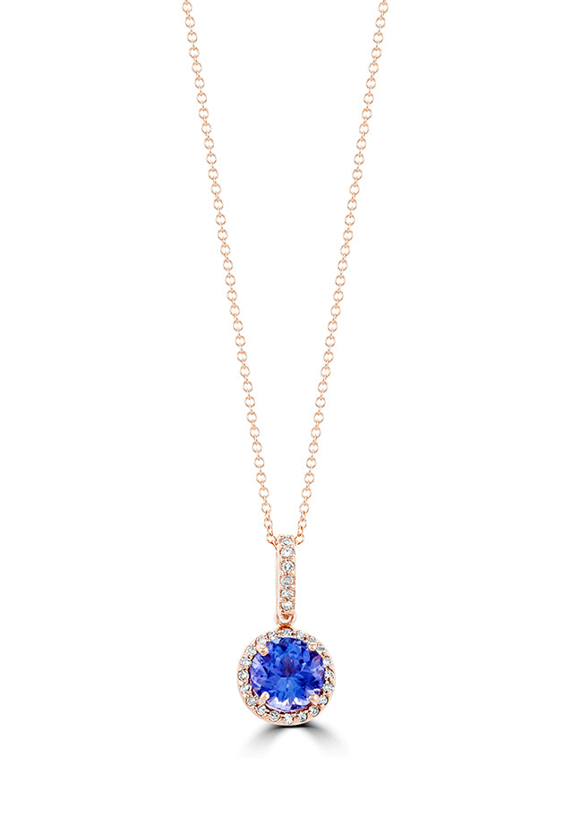 Effy Gemma 14K Rose Gold Tanzanite and Diamond Pendant, 1.36 TCW