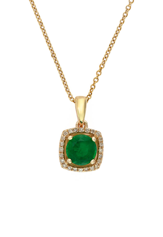 Effy Brasilica 14K Yellow Gold Emerald and Diamond Pendant, 0.88TCW