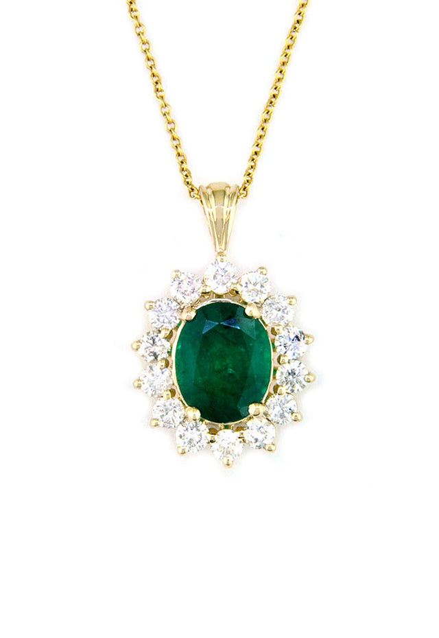 Gemma Royalty Emerald and Diamond Pendant, 3.10 TCW
