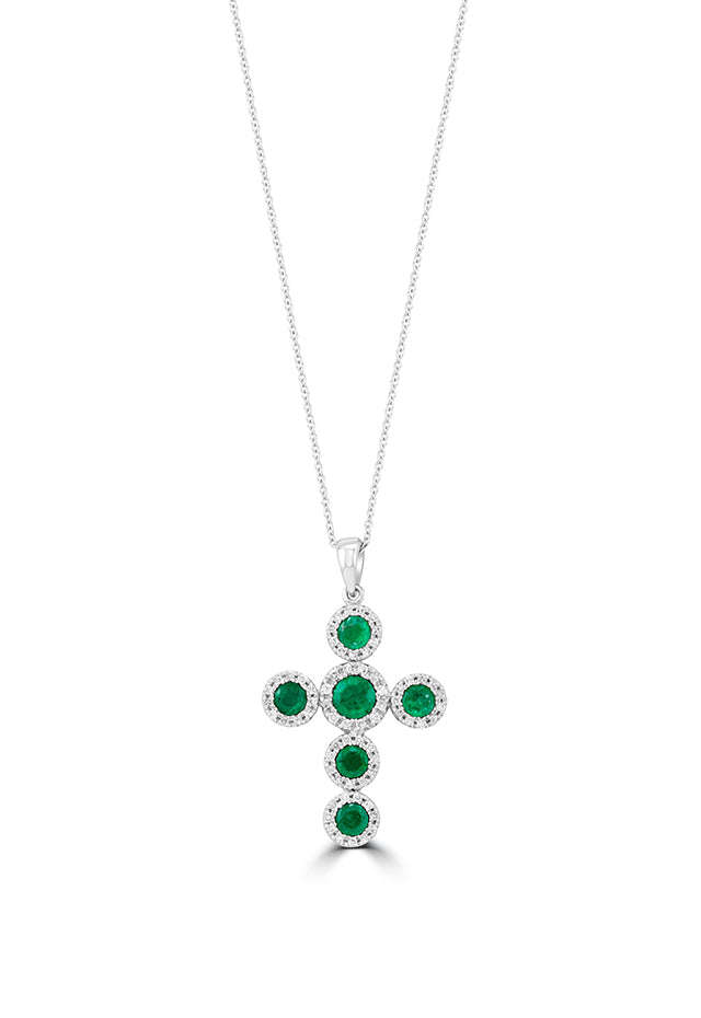 Effy Brasilica 14K White Gold Emerald and Diamond Cross Pendant, 1.48 TCW