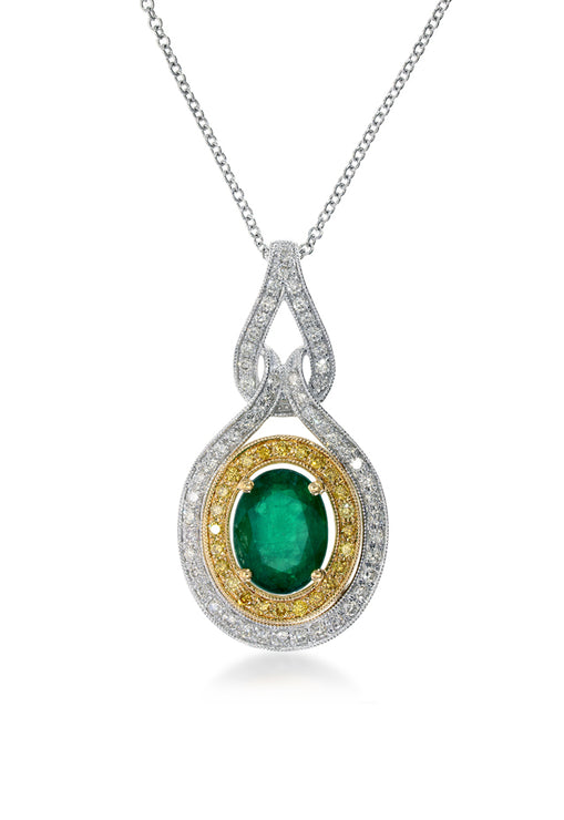 Effy 14K Two-Tone Gold Emerald, Yellow and White Diamond Pendant, 2.00 TCW