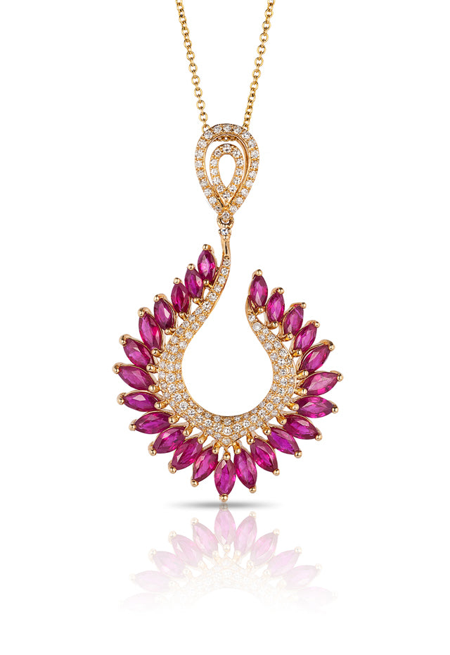 Gemma Yellow Gold Ruby and Diamond Pendant, 4.88 TCW