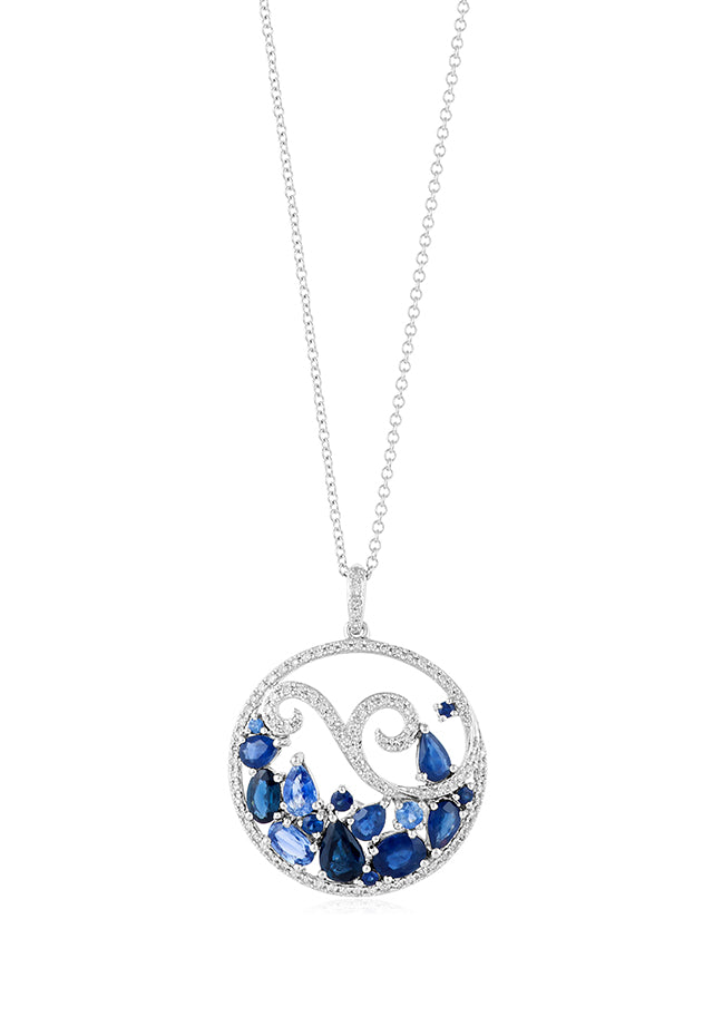Effy Seaside 14K White Gold Blue Ceylon Sapphire & Diamond Pendant, 3.32 TCW