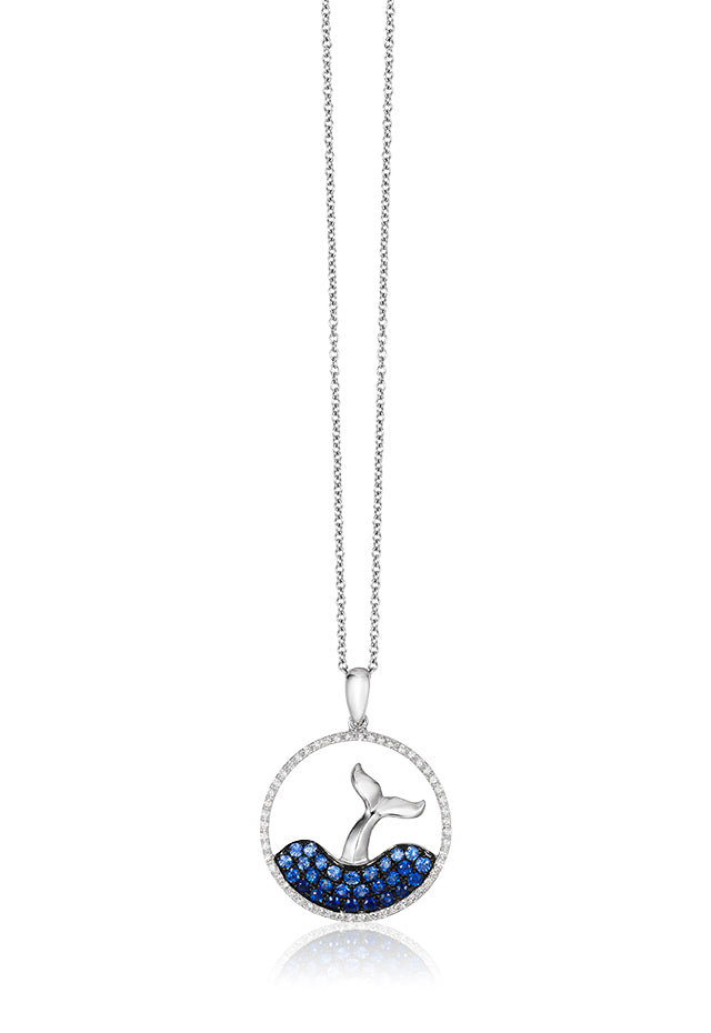 Effy Seaside 14K White Gold Sapphire and Diamond Whale's Tail Pendant