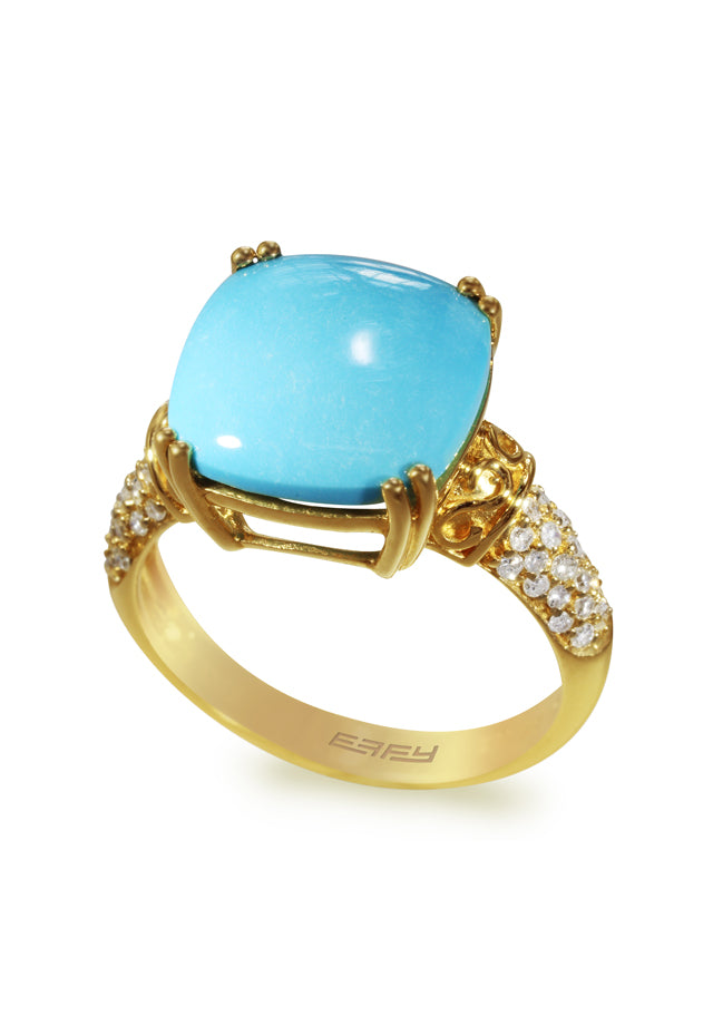 Effy 14K Yellow Gold Turquoise and Diamond Ring, 6.96 TCW