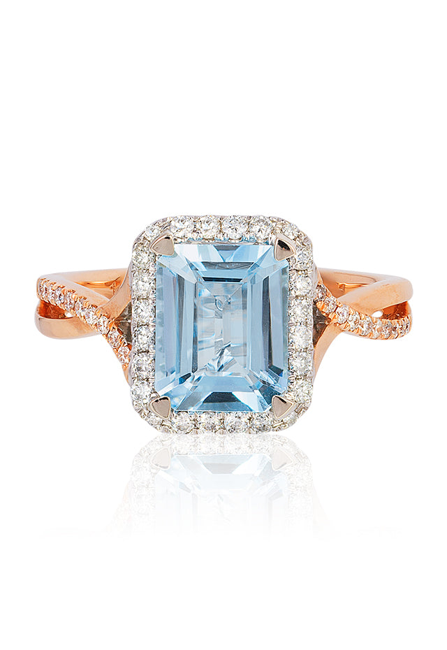 Effy Aquarius 14K Rose and White Gold Aquamarine and Diamond Ring, 2.50 TCW