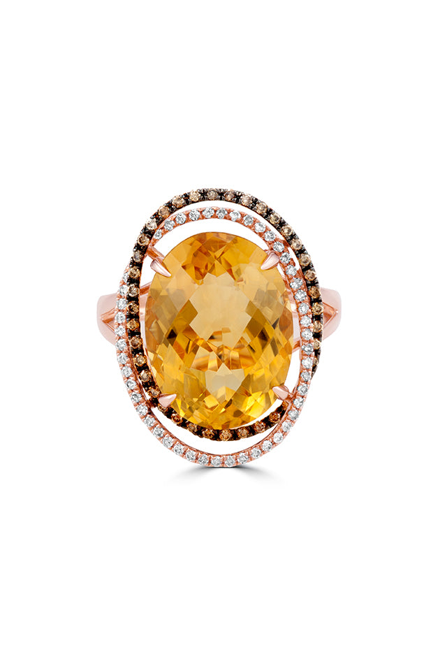 Effy 14K Rose Gold Citrine, Cognac and White Diamond Ring, 9.97 TCW