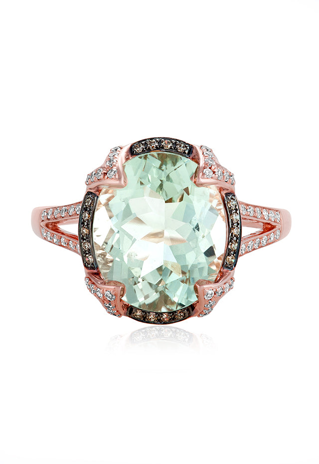 Effy Gemma 14K Rose Gold Green Amethyst and Diamond Ring, 4.59 TCW