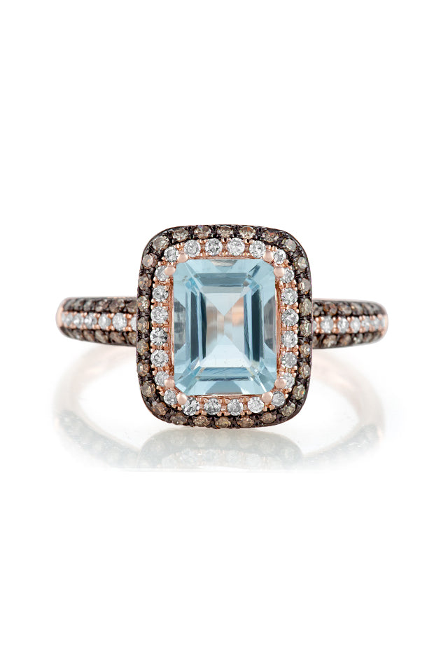 Effy Aquarius 14K Rose Gold Aquamarine, Cognac & Diamond Ring, 1.76 TCW