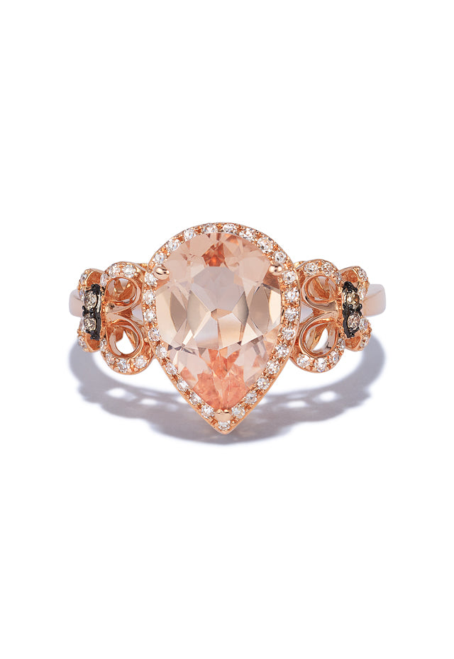 Effy Blush 14K Rose Gold Morganite, Cognac and White Diamond Ring, 2.38 TCW
