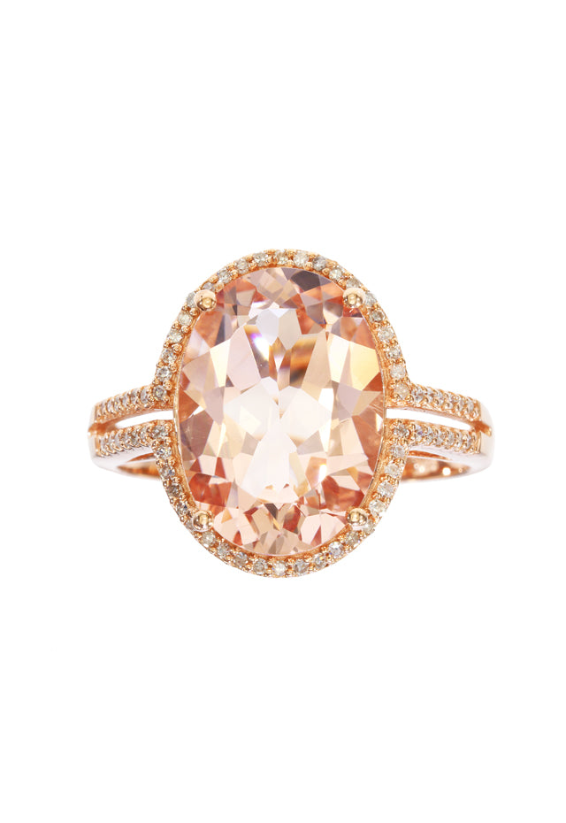 Effy Gemma 14K Rose Gold Morganite and Diamond Ring, 5.46 TCW
