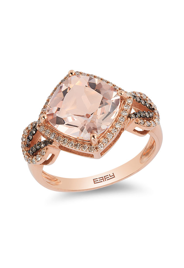 Effy Blush 14K Rose Gold Morganite and Diamond Ring, 3.65 TCW