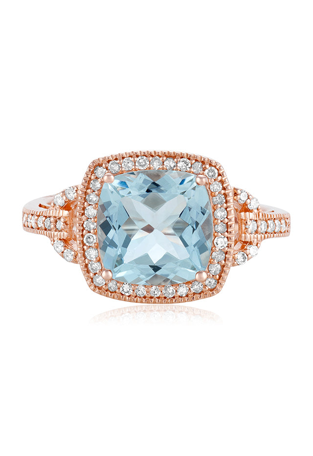 Effy Aquarius 14K Rose Gold Aquamarine and Diamond Ring, 3.10 TCW