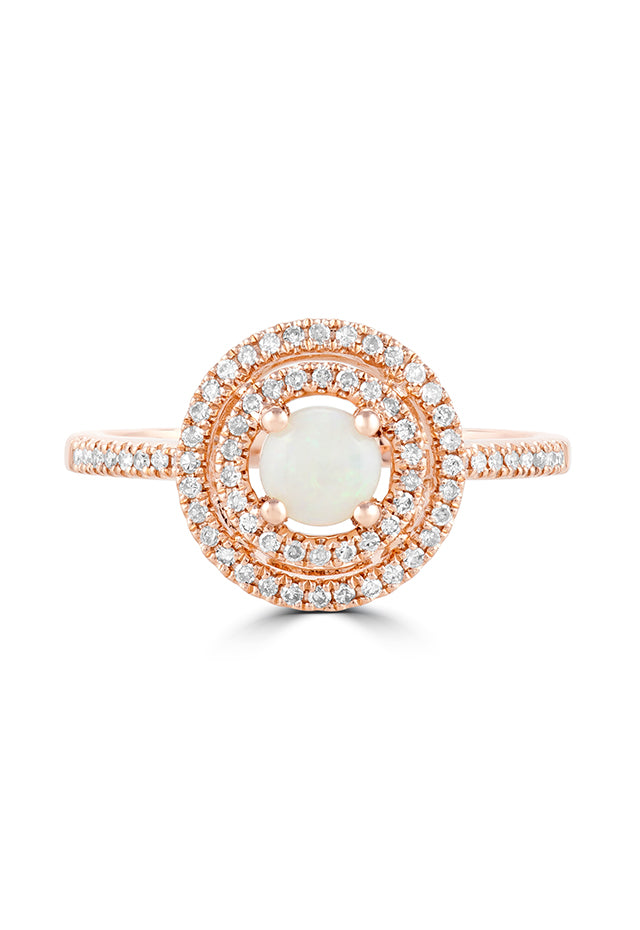 Effy Aurora 14K Rose Gold Opal and Diamond Ring, 0.67 TCW