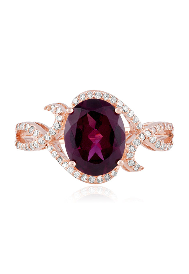 Effy Bordeaux 14K Rose Gold Rhodolite Garnet and Diamond Ring, 3.11 TCW