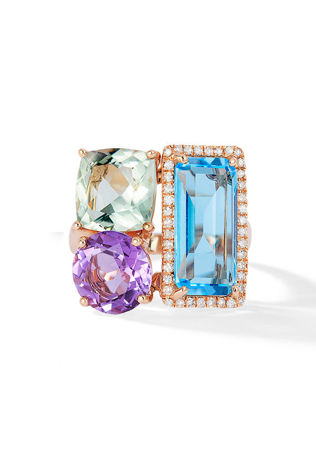 Effy Mosaic 14K Rose Gold Blue Topaz, Amethyst and Diamond Ring, 10.32 TCW