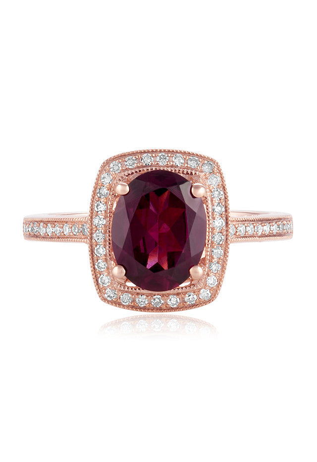 Effy Bordeaux 14K Rose Gold Rhodolite Garnet and Diamond Ring, 2.48 TCW