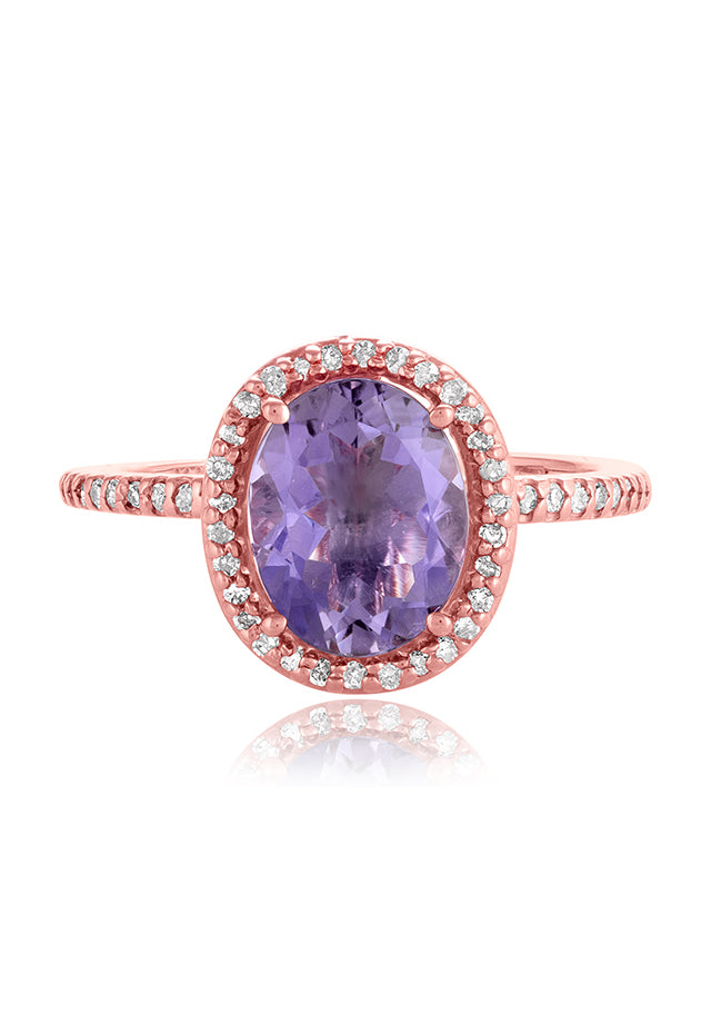 Effy Gemma 14K Rose Gold Amethyst and Diamond Ring, 2.38 TCW