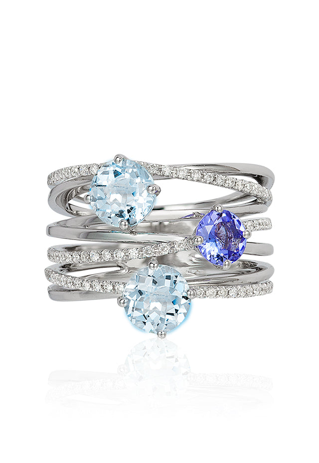 Effy Aquarius 14K White Gold Aquamarine, Tanzanite & Diamond Ring, 2.16 TCW