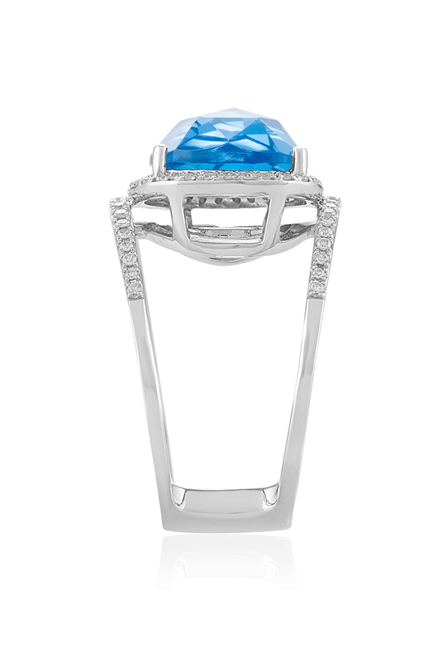 Effy Ocean Bleu 14K White Gold Blue Topaz and Diamond Ring, 6.60 TCW