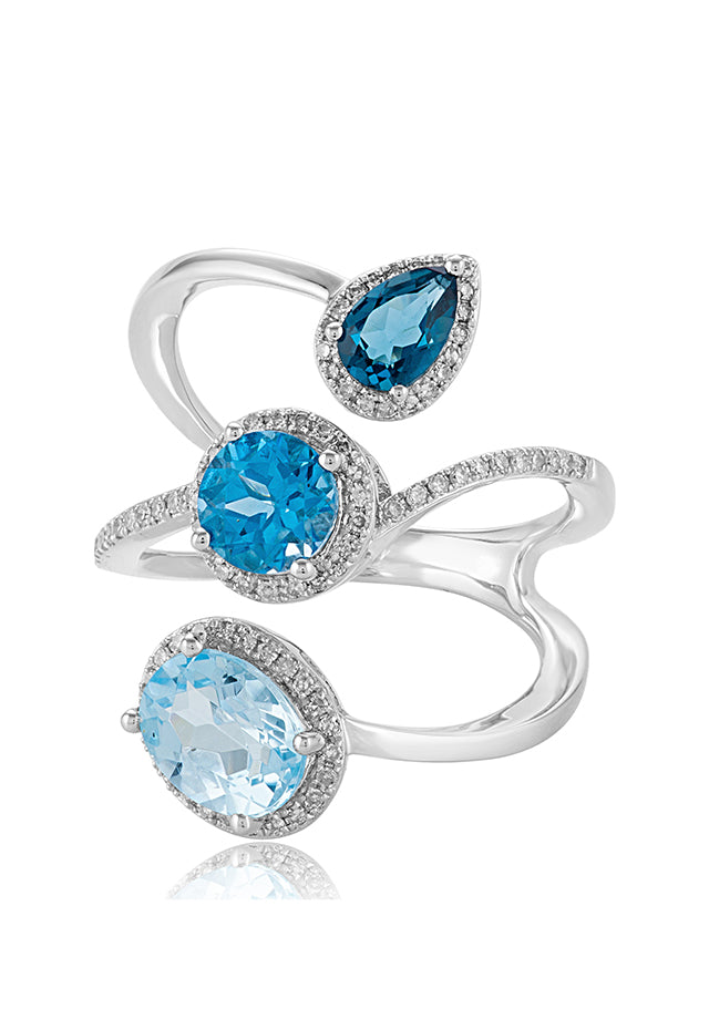 Effy Ocean Bleu 14K White Gold Blue Topaz and Diamond Ring, 3.43 TCW