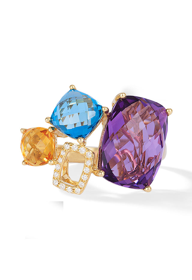 Effy Mosaic 14K Yellow Gold Blue Topaz, Amethyst, Citrine & Diamond Ring