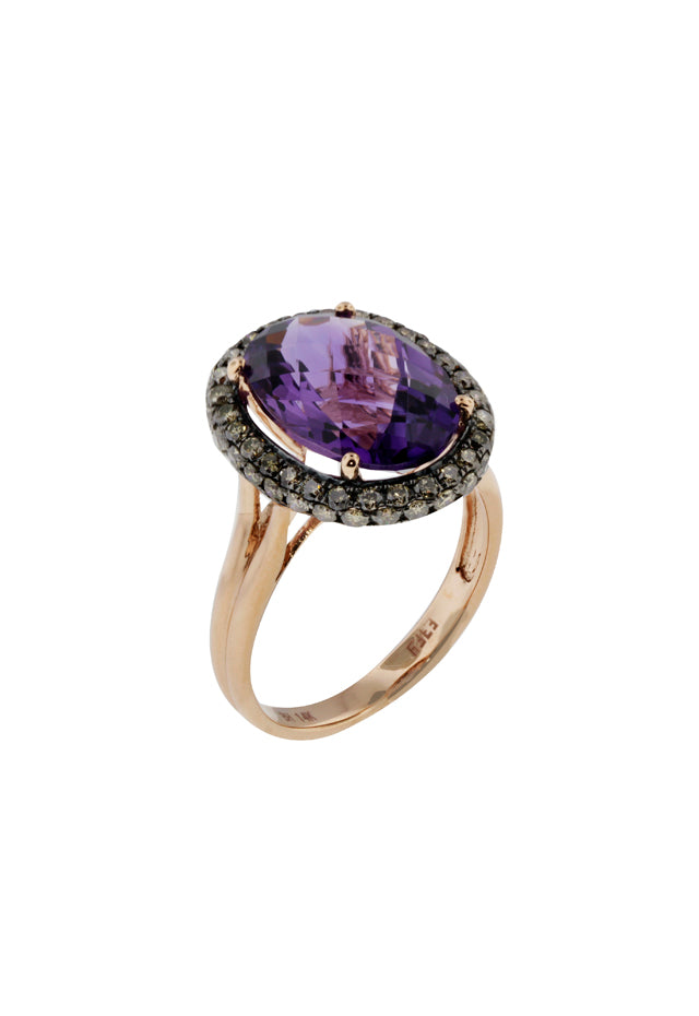 Effy 14K Rose Gold Amethyst and Diamond Ring, 6.45 TCW