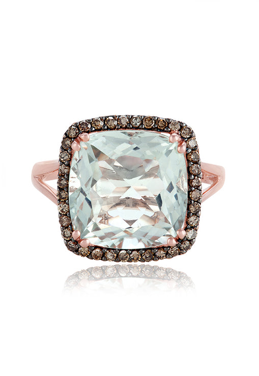 Effy Gemma 14K Rose Gold Green Amethyst and Diamond Ring, 6.65 TCW