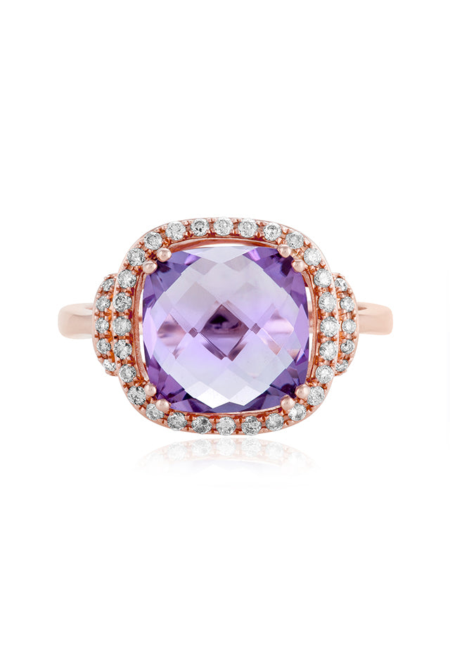 Effy Gemma 14K Rose Gold Amethyst and Diamond Ring, 4.51 TCW