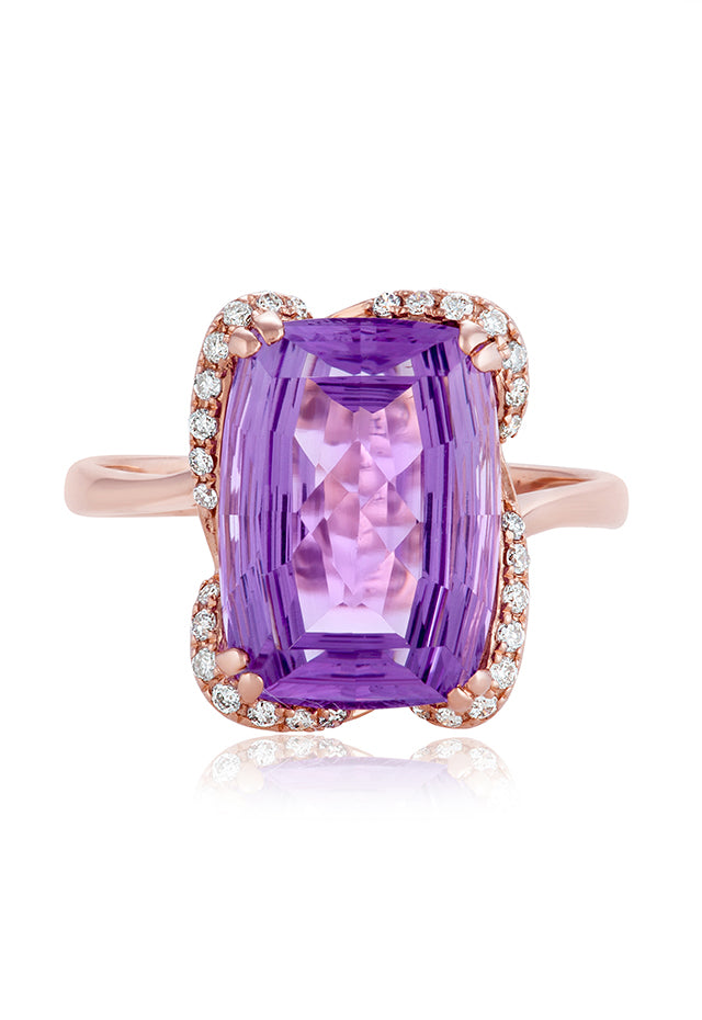 Effy 14K Rose Gold Amethyst and Diamond Ring, 6.53 TCW