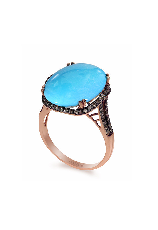 Effy 14K Rose Gold Turquoise and Diamond Ring, 10.41