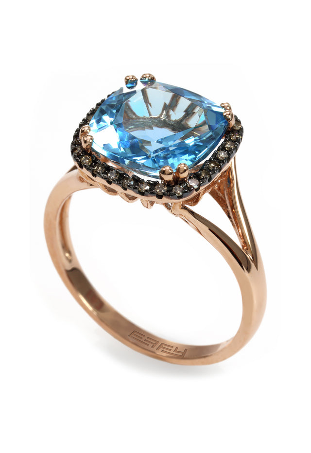 Gemma 14K Rose Gold Blue Topaz and Diamond Ring, 4.69 TCW
