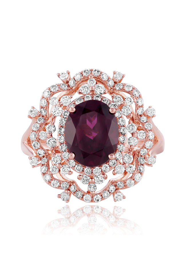 Effy Bordeaux 14K Rose Gold Rhodolite Garnet and Diamond Ring, 3.70 TCW