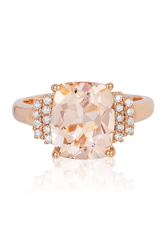 Effy Blush 14K Rose Gold Morganite and Diamond Ring, 4.33 TCW